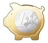 Euro coin piggy bank vector icon — Stock Vector
