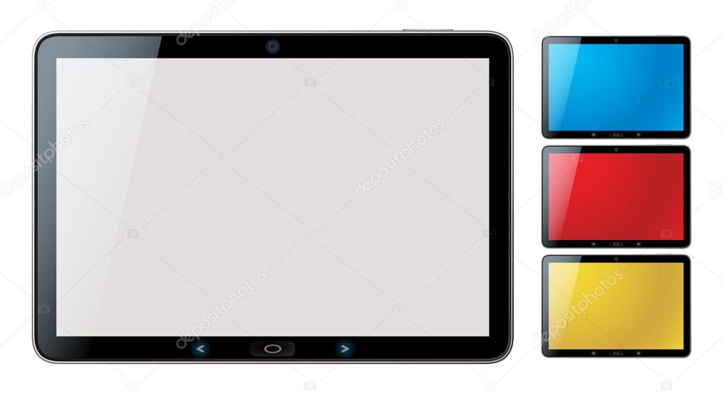 Photo-realistic vector illustration of different colored horizontal tablet pc set with copyspace on the screen - isolated — Stock Vector #12825706