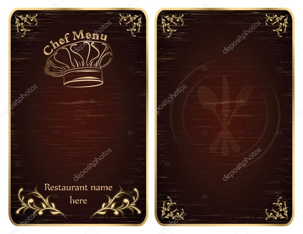 Golden restaurant chef menu board covers - vector  Stock Vector #12825716