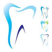 Tand tandläkare ikonuppsättning — Stockvektor