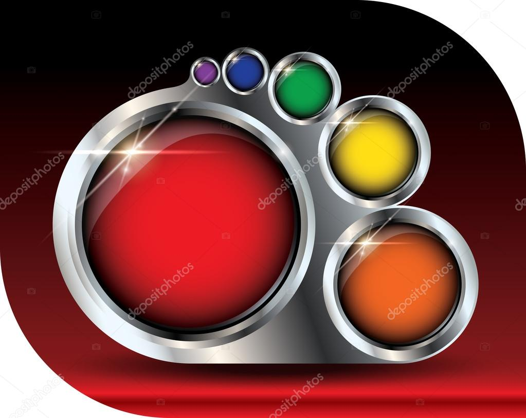 Metallic paint palette vector with glossy colorful buttons, lens flare and copyspace template concept — Stock Vector #12839857
