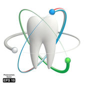Protected tooth - realistic 3d vector icon — Stok Vektör