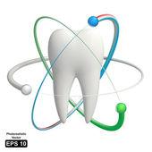 Protetto dente - realistico 3d icona vettoriale — Vettoriale Stock