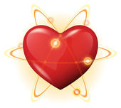 3d heart protection vector icon - atom power — Stock Vector
