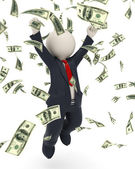 3d business man jumping for victory - money rain — Zdjęcie stockowe
