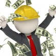 3d constructor business man jumping for victory - money rain — Stock Photo