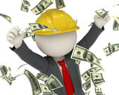 3d constructor business man jumping for victory - money rain — Стоковое фото
