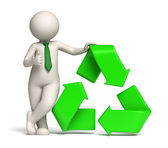 3d man - green recycle icon and thumbs up — Stock Photo