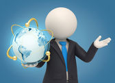 3d business man holding an atomic earth globe — Stock Photo