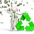3d man recycle symbol with money rain - 图库照片