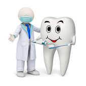 3d dentist with a smiling tooth and toothbrush — Stock Photo