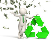 3d man recycle symbol with money rain — Stock Photo