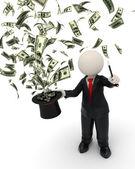 3d kouzelník obchodní muž - magie peněz klobouk — Stock fotografie