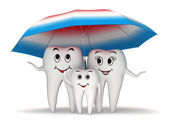 3d Smiling tooth family protection - umbrella — Stock Photo