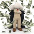 Succesful 3d business team - money rain — Stock Photo