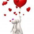 3d couple flying with a red heart balloon Valentines day — Foto Stock