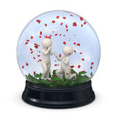 3d couple in a snow globe - Marriage proposal - Valentine — Stock Photo