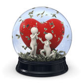 3d couple in snow globe - Marriage money Valentine — Stock Photo