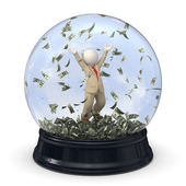 3d rich business man in snow globe - Money rain — Stock Photo