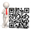 3d business man showing thumbs up near a QR code — Stock Photo