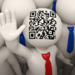 3d business people waving - QR code — Stock Photo