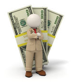 3d business man in beige suit - pack of money — Stock Photo