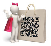 3d woman with giant QR code shopping bag — Stock Photo