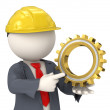 3d constructor business man holding a gear — Stock Photo
