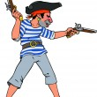 Pirate with two pistols — Stock Vector #10955972