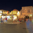 Old Rhodes Town Main Squre at night - Stock Photo