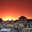 Old Rhodes town sunset — Stock Photo