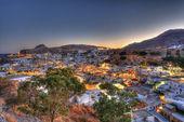 Lindos rhodes greece sunset — Stock Photo