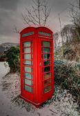 Snowey phone box in the Breacon Beacons — Stock Photo