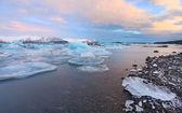 Jokulsarlon lagoon sunrise — Stock Photo