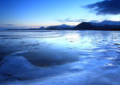 Ice Land mountains and frozen lakes — Stok fotoğraf