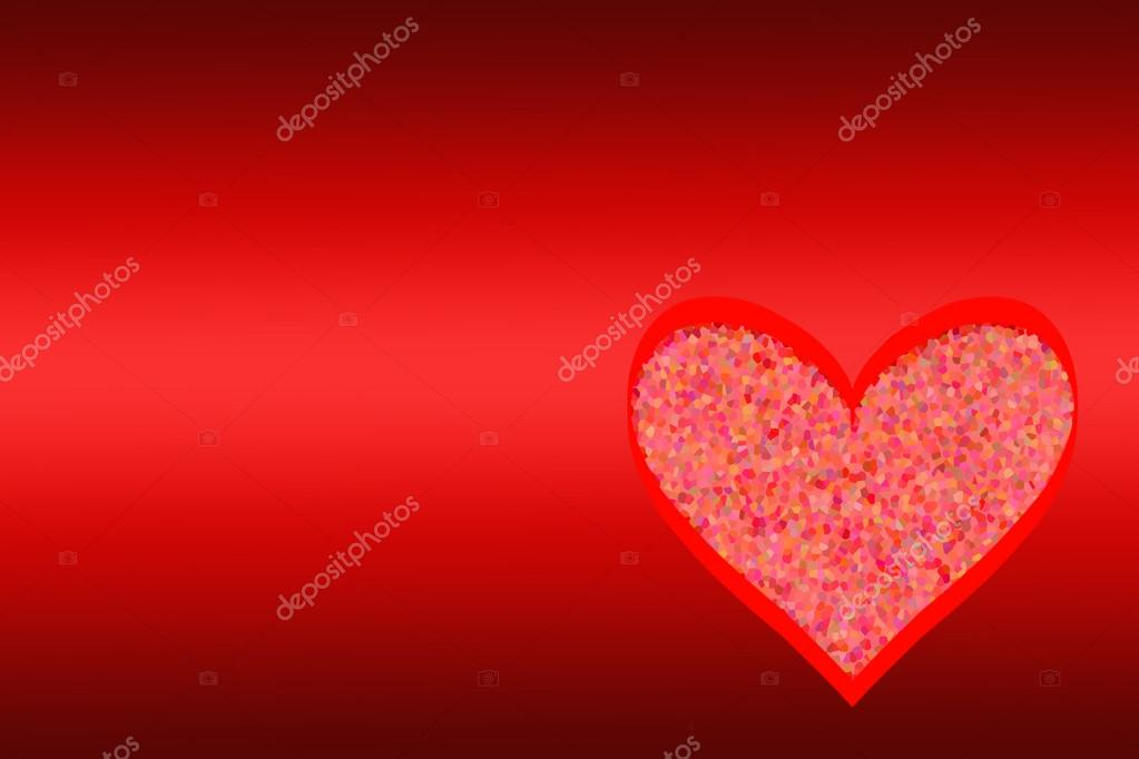 Red heart from a mosaic on a red background. — Stock Photo #14566941