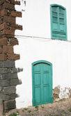 Green Door and Window — Stock Photo