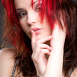 Glamour portrait of beautiful red haired woman — Stock Photo