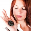 Woman with compass — Stock Photo