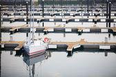 Single yacht in harbor of Laredo, Spain — Stock Photo