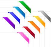Corner ribbons in various colors — Stock Vector