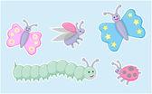 Happy little beetles, butterflies and caterpillar — Stock Vector