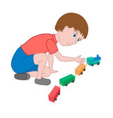 Boy playing with a toy train — Stock Vector