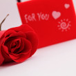 Beautiful red rose and gift For You — Stock Photo
