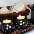 Stock Photo: Spcomposition with candles, aromatic oil and massage brush