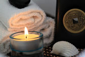 Wellness & Spa composition with clam shell and candle — Foto Stock