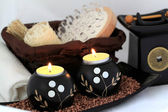 Spa composition with candles, aromatic oil and a massage brush — Stock Photo