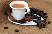 Cup of coffee and star anise — Stock Photo