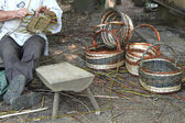 Manufacturing of wicker baskets — Stock Photo