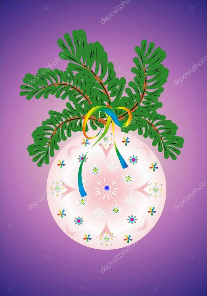 Christmas decoration with bauble and twigs — Stock Vector #12182101